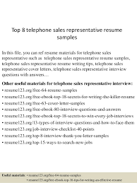 Top 8 telephone sales representative resume samples In this file, you can  ref resume materials ...