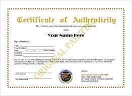 Certificate Of Authenticity Template 2016 E Commercewordpress
