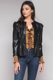 vegan leather peplum jacket plus size