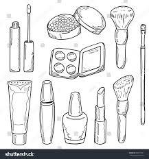 set of makeup items outline lipstick maa powder eye shadow lip