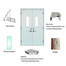 qian high quality single 2 hour steel fire escape doors s fire rated metal door with window inserted
