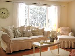 Living Room:Marvelous Shabby Chic Interior With White Fabric Sofa And Rustic  Table With Wheels
