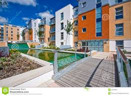 Modern Water Features Modern Development With Water Feature Royalty Free Stock Image