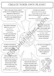 Design Your Own Planet Create Your Own Planet Esl Worksheet By Aee Aee