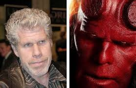 ron pearlman before and after his makeup for the film boy