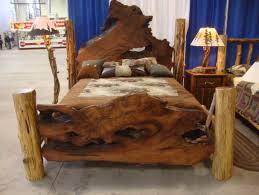 log furniture ideas. Rustic Wooden Log Bed Frame And Nightstand In Custom Wood Furniture Ideas: Medium Ideas