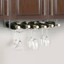 mesmerizing metal hanging wine glass rack under dark brown kitchen wall mounted cabinet