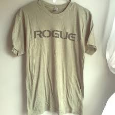 army green rogue fitness american made tee euc
