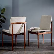 framework upholstered dining chair stone twill westelm