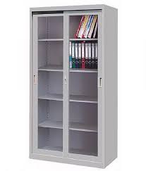 high quality steel bookcase with sliding glass doors