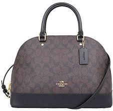 Coach F27584 IMAA8 Leather Large Signature Sierra Satchel Handbag- Brown  Black
