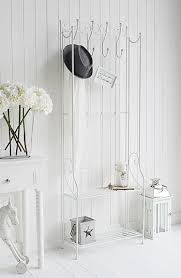 White Coat Rack With Storage St Malo white freestanding coat rack with shelves Simple hall furniture 30