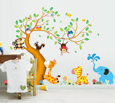 animals tree monkey removable wall decal stickers kids baby nursery room decor on baby room wall decor stickers with animals tree monkey removable wall decal stickers kids baby nursery