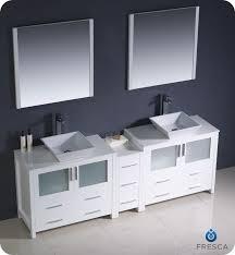 84 fresca torino fvn62 361236wh vsl modern double sink bathroom vanity w one side cabinet two vessel sinks white