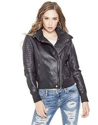 guess evelyn faux leather jacket 139 99 49 95 code gue 31024 blk