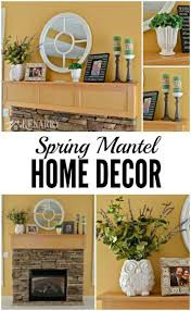 spring mantel decor ideas green and purple accents