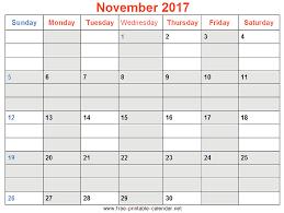 print november 2017 calendar