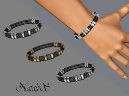 natalis braided leather and metal bracelet