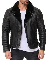 men s black stylish biker leather motorcycle fur collar jacket