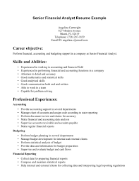 Objective Financial Analyst Resume Objective