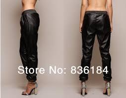 2019 whole 2016 black loose leather jogging pants harem faux leather sweatpants joggers street fashion women pants from aprili 40 71 dhgate com