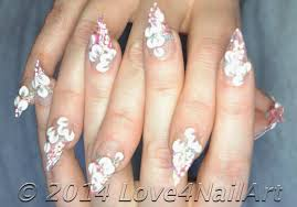 Love4NailArt: 3D Floral on Pink Glitter Stiletto Acrylic Nails