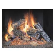 natural gas fireplace insert fake oak logs vented thermostat 18 inch heater