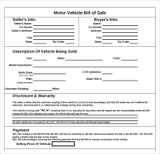 Sample Bill Of Sale For Car Pdf Sample Auto Bill Of Sale 7 Documents In Pdf
