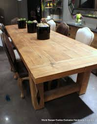 solid wood dining table impressive decor long rectangular have chairs that also black flowers vase on