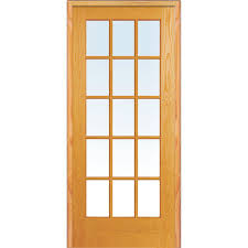right hand unfinished pine glass 15 lite clear true divided single prehung interior door