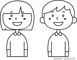 こども 男の子と女の子 モノクロのイラスト素材 22331374 Pixta