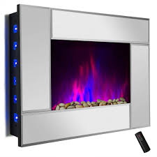 akdy 36 in wall mount electric fireplace heater in mirror for amazing electric fireplace logs with heater