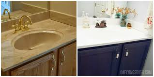 painted bathroom sink tutorial before and after - I'm Flying South featured  on @