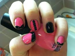 how to create cute pink and black nails