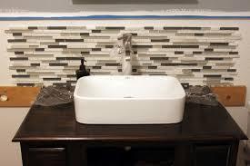 Glass Tile Bathroom Sink Backsplash Bathroom Design - Tile backsplash in bathroom