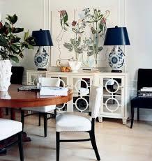 white dining room buffet. Modern Elegant Dining Room: White Mirrored Buffet + Wood Blue | By SarahKaron Room E