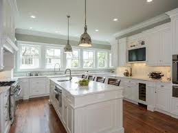 white kitchen. White Cottage Kitchen With Metal Pendants