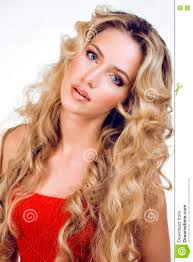 Curly Hair Style Up beauty blond woman with long curly hair close up isolated 3754 by wearticles.com
