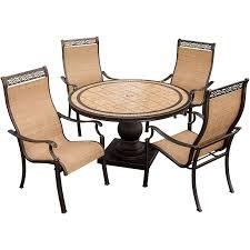 hanover patio furniture. Tested Hanover Outdoor Furniture Monaco 5 Piece Dining Set With 9 Ft Table Umbrella MONACO5PC SU Patio