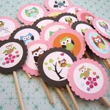 Owl Cupcake Toppers Cute Owl Toppers Pink Owl CupcakeBaby Shower Owl Cake Toppers