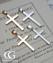 9ct solid yellow or white gold cross pendant necklace medium large
