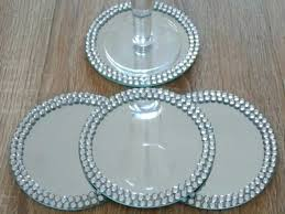 clear glass coasters coasters glass set 4 round cm mirror glass coasters candle plate diamante jewel