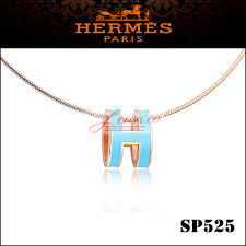hermes pop h narrow pendant necklace in emerald enamel with rose gold plating