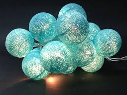 20 Lighting Turquoise Cotton Ball String Lights Ideal for ...