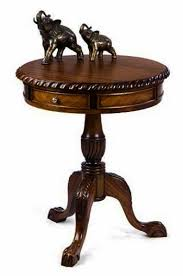 oc1 chippendale drum table with 2 drawers