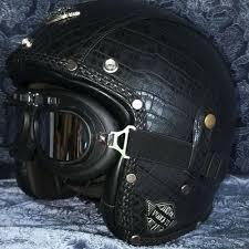 dot vintage leather motorcycle helmet open face cruiser helmet goggles harley l