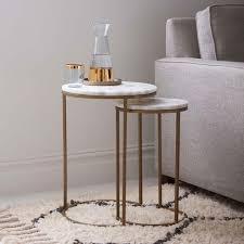 round nesting side tables set marble antique brass west elm uk