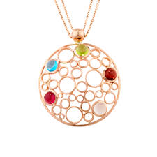 handmade rose gold large bubble multi gem pendant necklace london road jewellery