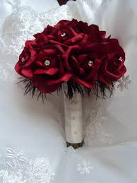 Real Touch Red Roses Accented With Black Ostrich Feathers Wedding