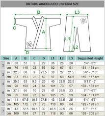 Judo Suit Size Chart Martia Arts Uniform Size Chart Size Chart Chart Art
